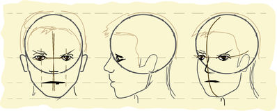 Sketch Of A Human Head Stock Photo