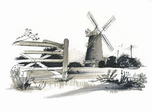 Free Sketch Of Burhham Overy Mill, Norfolk, UK Stock Photo - 26552780