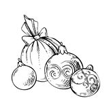 Sketch Of Christmas Balls On White Background. New Year Ball Stock Images