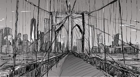 Free Sketch Of Cityscape In New York Show Brooklyn Bridge And Building Stock Image - 88297681