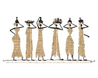 Sketch Of Egypt Women With Jugs For Your Design Stock Photography