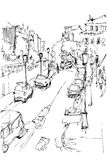 Sketch Of Municipal Street Kind From A Window Royalty Free Stock Photography