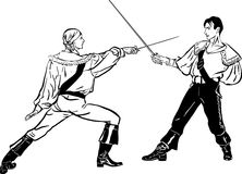 Sketch Of Steam Of Fencers Battle On A Duel Royalty Free Stock Photography