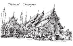 Sketch Of Thai Temple Asia Style In Chiangmai, Wat Mahawan Royalty Free Stock Photo