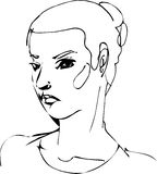 Sketch Of The Face Of A Beautiful Girl Stock Photography