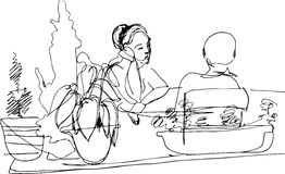 Sketch Of Two Women At The Table Royalty Free Stock Image