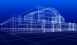 Sketch of office building. 3D sketch of office building on blue background Stock Photography