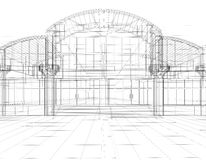 Sketch of office building. 3D sketch of office building Royalty Free Stock Photos