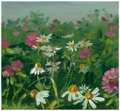 Sketch in oils meadow Royalty Free Stock Image