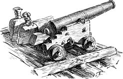 Sketch of an old artillery gun Royalty Free Stock Image