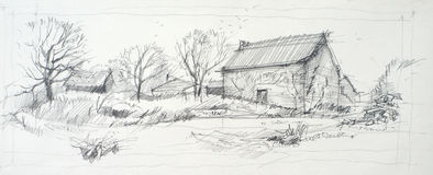 Sketch of an old barn. Made by pencil on a white paper royalty free illustration