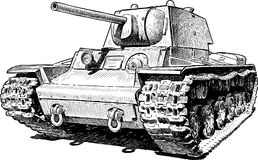 Sketch of an old battle tank Stock Photo
