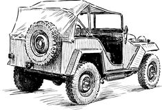 Sketch of an old car Royalty Free Stock Photos