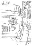 A sketch of the old cars. Parked near the sidewalk Stock Image