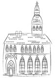 Sketch of old cathedral isolated on white Stock Photography