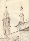 Sketch of an old church Royalty Free Stock Images