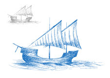 Sketch of old medieval sailing ship Stock Photo