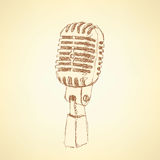 Sketch old microphone in vintage style. Vector Royalty Free Stock Photography