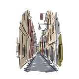 Sketch of old spanish street for your design Stock Photo