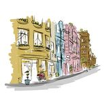Sketch of old street for your design royalty free illustration