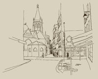 SKETCH.Old streets Royalty Free Stock Images