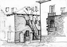 The sketch of the old streets. Sketch by hand, image. Old street in town. Two-storey house, made of stone, the fence, the garden Royalty Free Stock Image