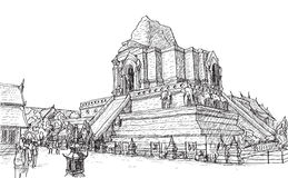 Sketch old temple pagoda Wat-Ja-Dee-Luang in Thailand, Chiangmai. Free hand draw vector illustration Stock Images