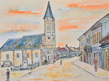 Sketch, old town Stock Photography
