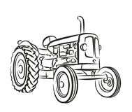 Sketch of old tractor. Stock Photo