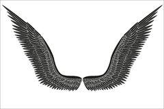Sketch open black angel wings. Vector Stock Photography