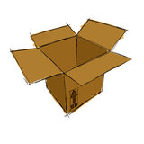 Sketch of an  Open box Stock Photo