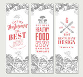 Sketch Organic Food Vertical Banners Royalty Free Stock Photography