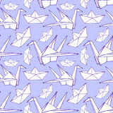 Sketch origami seamless pattern Royalty Free Stock Photos