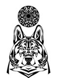 Ornament wolf on white background. Patterned art of severe wolf. royalty free illustration