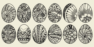 Sketch ornate Easter eggs Stock Images
