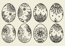 Sketch ornate Easter eggs Stock Photos
