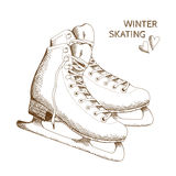 Sketch os skates isolated on white background. Figure Skating design element. Vector poster with figure skates isolated on the white background. Hand drawn Royalty Free Stock Photography