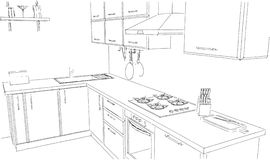 Sketch outline drawing of 3d contemporary corner kitchen interior black and white. Sketch of modern corner kitchen. 3d outline illustration. Black pencil lines Royalty Free Stock Photos