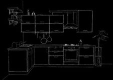 Sketch outline drawing of 3d contemporary corner kitchen interior black and white Royalty Free Stock Images