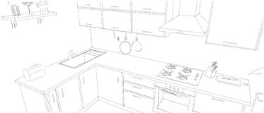 Sketch outline drawing of 3d modern corner kitchen interior black and white. Sketch of modern corner kitchen. 3d layout illustration. Black pencil lines on white Royalty Free Stock Photography