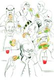 Sketch outline with eating people. Royalty Free Stock Photos