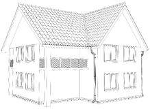 Sketch outline house on the white background. EPS Stock Images