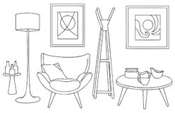 Sketch and Outline of Unique and Artistic Furniture Design. Unique and Artistic Furniture Design Outline and Sketch Vector Illustration for many purpose such as Vector Illustration