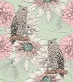 Sketch of a owl. Vector sketch of a owl with flowers. Seamless pattern Stock Image