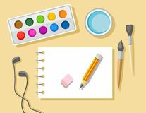 Sketch pad and paints. On the table lies a sketchbook, paints, brushes, pencil and eraser. Colored illustration Stock Photos