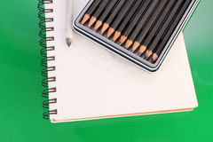Sketch Pad and Pencils Royalty Free Stock Images