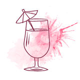 Sketch with a painted glass with juice Royalty Free Stock Image