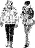 Sketch of a pair of urban dwellers walking down the street royalty free stock images
