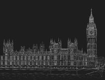 Sketch the palace of Westminster. Sketch of the Palace of Westminster and Big Ben tower. Painted with chalk on black Stock Photo