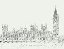 Sketch the palace of Westminster. Ink drawing of the Palace of Westminster and Big Ben tower Royalty Free Stock Photos